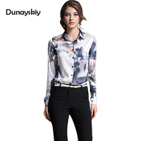 Flower Print shirts woman office lady blouse autumn basic women's work wear clothing turn down collar full length fashion Tops