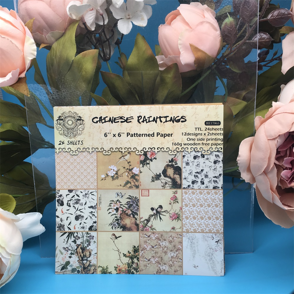24pcs/Pack 6*6inch Chinese Painting Patterned Paper Pack Scrapbooking DIY Planner Card Making Journal Project Letter Pad