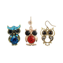 Different Style Vintage Bohemian Cute Crystal Owl Drop Earring For Women Animal owl Femme Earrings(China)