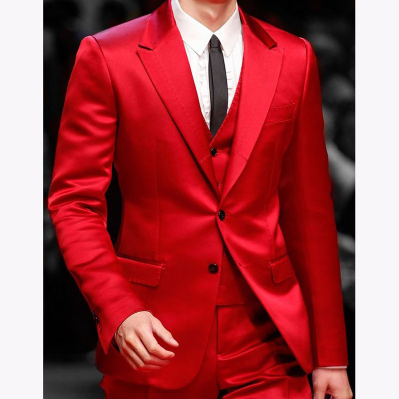 Handsome Red Mens Dinner Prom Suits 2017 costume homme mariage Groomsmen Wedding Blazer Suit (Jacket+Pants+Vest+Tie) - 2