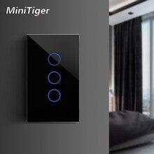 MiniTiger EU/US/UK/AU มาตรฐานสวิทช์หน้าแรกสมาร์ทสำหรับ LED TOUCH Switch 1/2/3 1 คริสตัลคริสตัลไม่มี WIFI