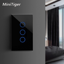 MiniTiger EU/US/UK/AU Standard Smart Home Light Touch Switch for LED Wall Touch Switch 1/2/3 Gang 1 Way Crystal Glass No Wifi