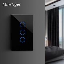 MiniTiger الاتحاد الأوروبي/الولايات المتحدة/المملكة المتحدة/الاتحاد الافريقي القياسية الذكية الرئيسية ضوء اللمس التبديل ل LED مفتاح حائط يعمل باللمس 1/2/3 عصابة 1 طريقة الكريستال والزجاج لا واي فاي
