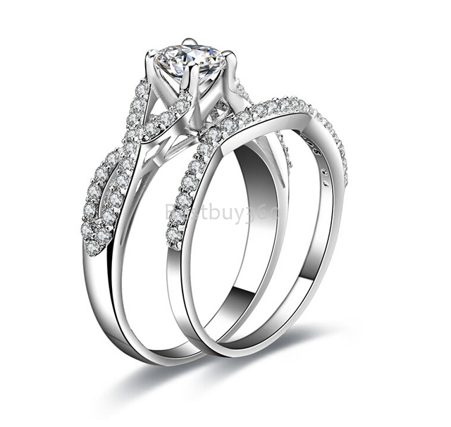0.5ct ring SONA diamant jewelry solid sterling 925 silver engagement wedding rings band set