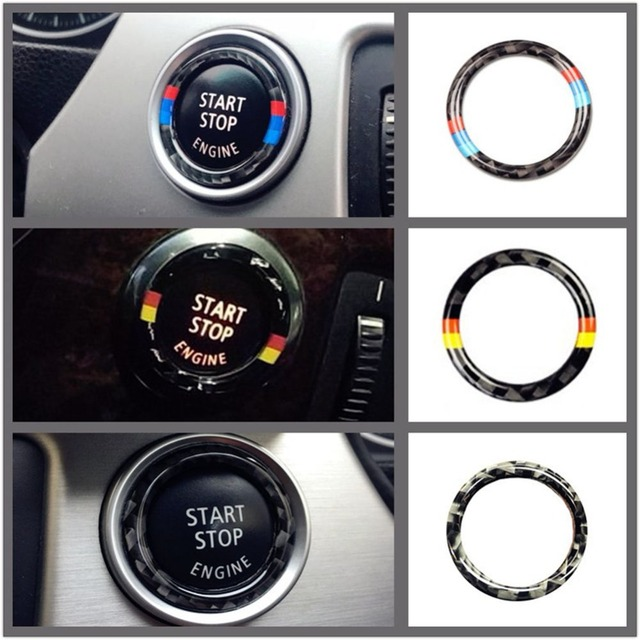 US $1 26 27% OFF|For BMW E90 E92 E93 Carbon Fiber Car Engine Start Stop  Ring Trim M Sport Car Ignition Key Ring 3 Series Car Accessories-in Car