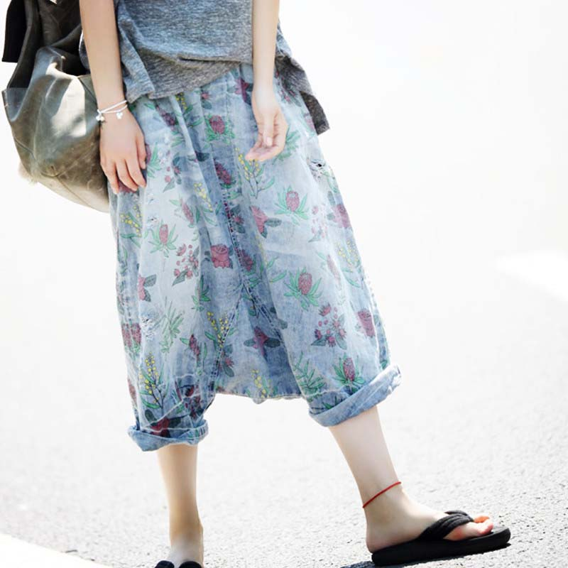 Women Jeans Loose Casual Denim Pants Wash Pockets Printing Flowers Vintage 3 4 Length Baggy Trousers