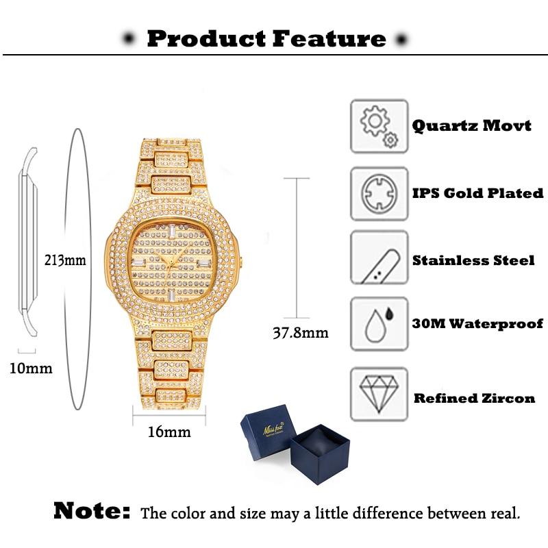 MISSFOX Patek montre femmes fête robe de mariée horloge dorée Bu dames or montre bracelet de haute qualité rôle montre pour cadeau de noël-in Montres femme from Montres    3