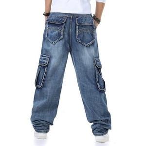 Image 4 - Джинсы мужские мешковатые джинсы Мульти Карманы скейтборд карго джинсы для мужчин Тактические Джинсы джоггеры джинсы размера плюс 30 46