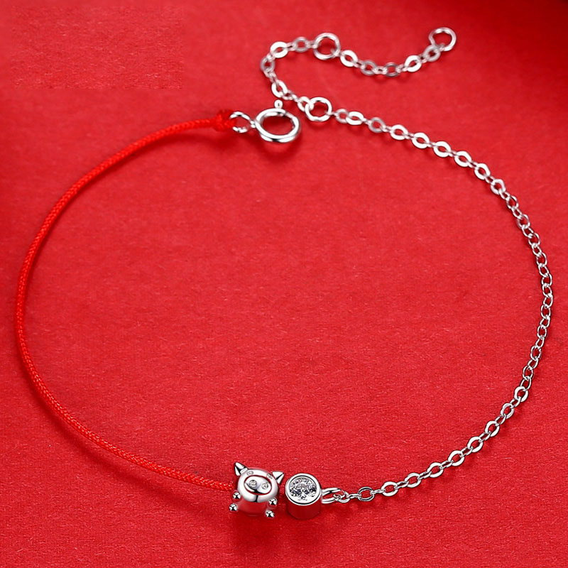 La Monada 925 Sterling Silver Fashion Red Rope Pig Crystal Jewelry Charm Women Bracelets Red Thread Line Bracelets For Women