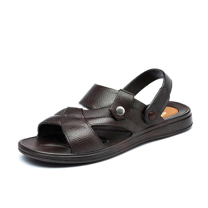 גברים סנדלי אמיתי פיצול עור גברים חוף נעלי מותג גברים נעליים יומיומיות גברים נעלי סניקרס קיץ נעלי כפכפים