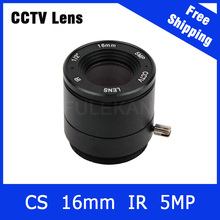 16mm cctv lens 5Megapixel Fixed CS Mount 1/2 Inch For 720P/960P/1080P/3MP/4MP/5MP IP camera and AHD/CVI/TVI Camera Free Shipping