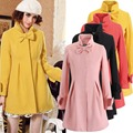 Otoño invierno mujer rosa de la falda completa escudo nueva corea del Color del caramelo chaqueta abrigo vestido dulce arco Trench Coat abrigo de lana W022