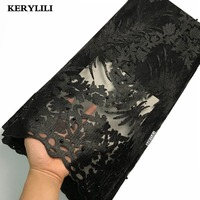 KER YLILI Black Lace Fabric French Lace Fabric With Stones Nigerian Swiss Net Lace Beads Sewing Material Party Dresses KRL 27480