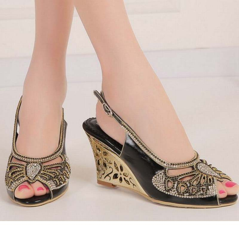 large size 34-44 women open toe buckle high heels sandals wedges summer ladies cut-outs peep toe rhinestone party wedding shoes plus size 34 44 summer shoes woman platform sandals women rhinestone casual open toe gladiator wedges women zapatos mujer shoes