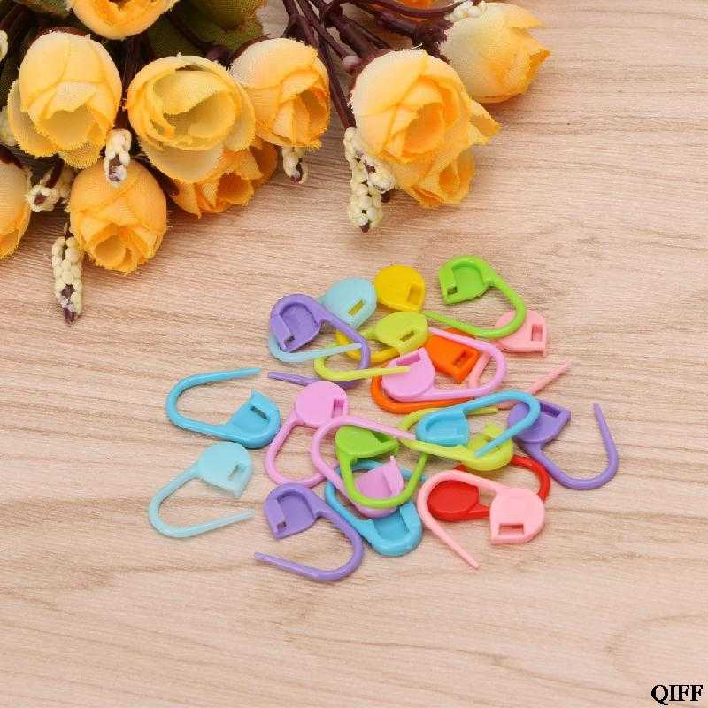 DROP Kapal & Grosir 20 Pcs Colorful Knitting Stitch Spidol Crochet Penguncian Alat Kerajinan Pemegang Cincin APR29