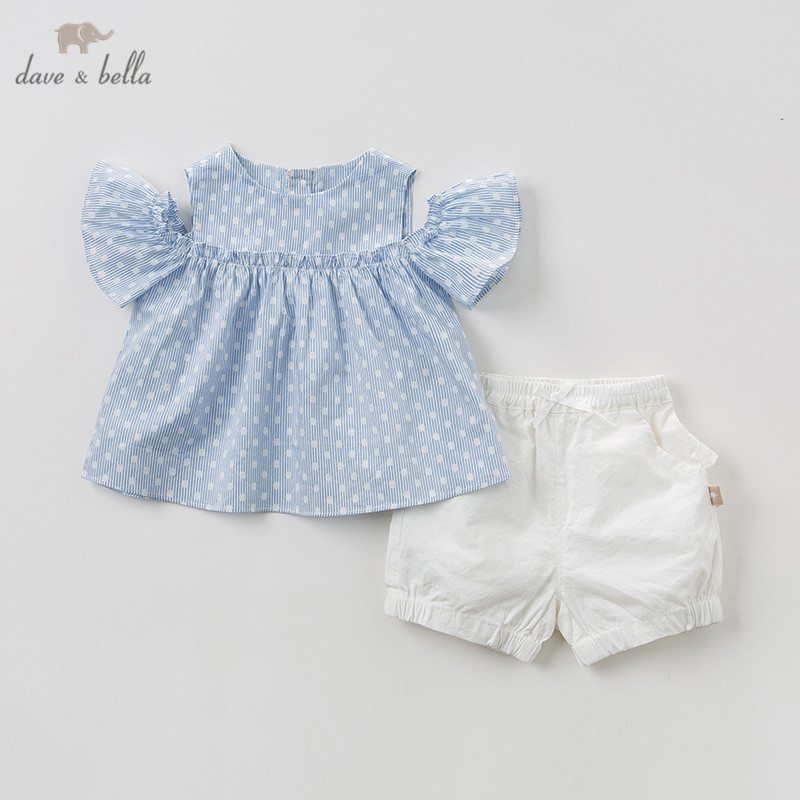 DBH10283 Dave bella summer baby girl clothing sets cute blue dots children suits infant high quality
