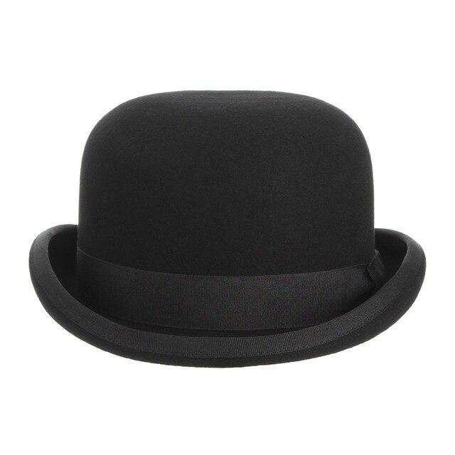 100% Wool Felt Black Derby Bowler Hat 2