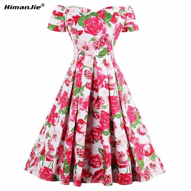 Himanjie vintage vestido pin up estilo verano Rosa flor impresión ...