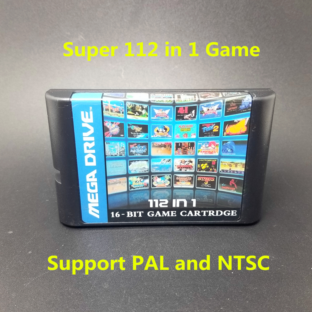 Super 112 in 1 Game Card mit Spiel Contra Vectorman Double Dragon Battletoads Ninja Gaiden Turtles für Sega Megadrive Genesis