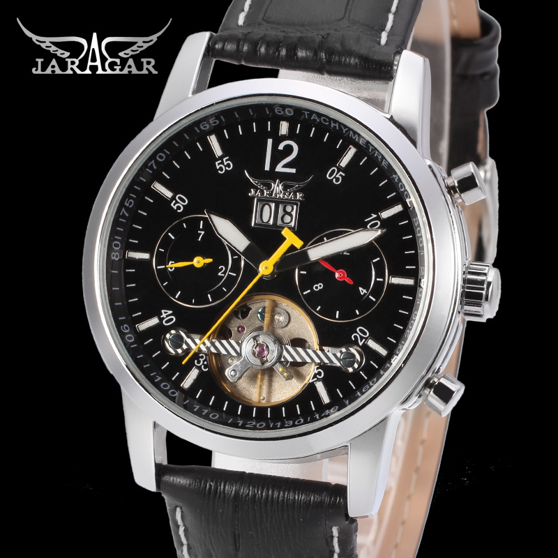 Jargar Men's Watch Automatic Tourbillon Business Classic Leather Band Calendar Wristwatch Black 247 classic leather