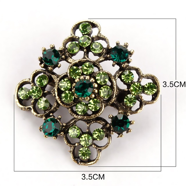 Antique Gold Plated Crystal Rhinestone Vintage Flower Brooch