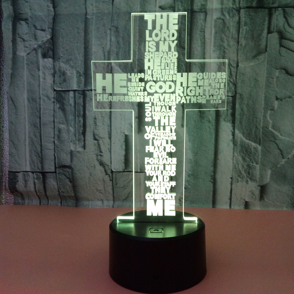 Cross 3d Lamp Colorful Touch Led Usb Visual Nightlight Novelty Luminaria Usb Led 3d Light Fixtures Powerbank Kids Lamp