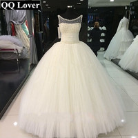 QQ Lover 2019 Latest African Ball Gown Wedding Dress Pearls Beaded Plus Size Bridal Gown Vestido De Noiva