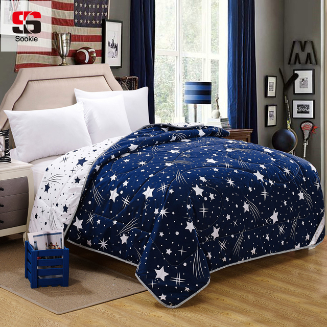 Sookie Fashion Quilts Bedding Stars Print Thin Throws Summer Comforter Blanket Duvets Cover Light Weight Air
