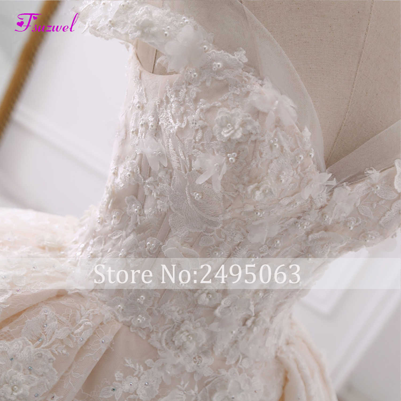 Vestido de Noiva Appliques Lace Flowers Princess Wedding Dresses 2019 Sweetheart Neck Pearls Royal Train Ball Gown Bridal Dress