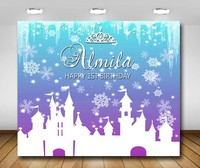 custom frozen snowflakes princess castle crown winter birthday backdrops High quality Computer print party background