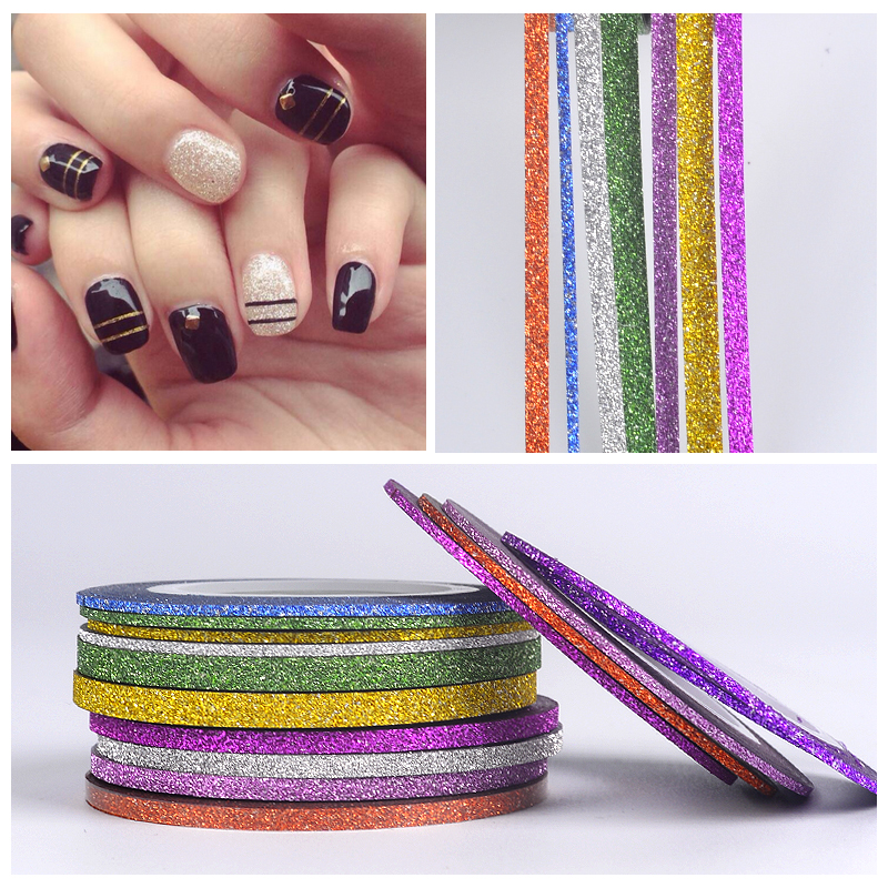 YZWLE 1Pc 1mm 2mm 4mm Scrub Metal Gold Silver Nail Striping Tape Line DIY Nail Art Adhesive Decal Nail Decoration Styling Tool 14 rolls glitter scrub nail art striping tape line sticker tips diy mixed colors self adhesive decal tools manicure 1mm 2mm 3mm