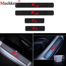 4 шт автомобилей порога декоративная защита Стикеры для KIA K3 4D углеродного волокна винила Добро пожаловать наклейки на педаль двери порог пластина