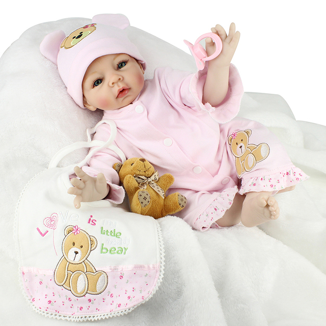 55cm Handmade Silicone Reborn Baby Doll Toys For Girl New Born Baby Dolls Soft Cloth Body Children Kids Princess Bonecas