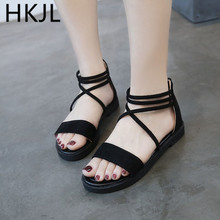 HKJL Fashion New summer women 2019 strappy sandals with zipper back for students beach shoes A166