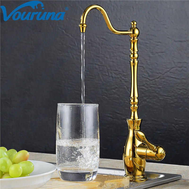 VOURUNA Luxurious Golden 100% Lead Free Faucet Drinking RO Water Filtration Reverse Osmosis Faucet Tap