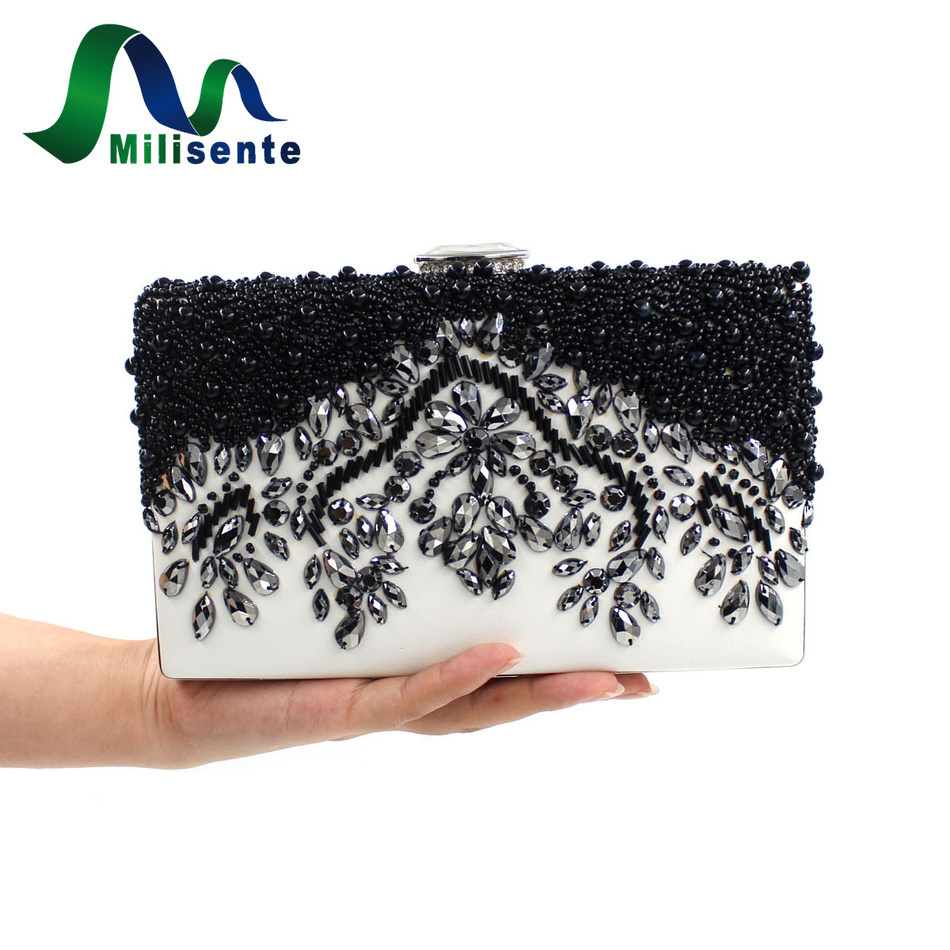 Milisente Women Black Clutch Wedding Bags Female Vintage Clutches Ladies Beaded Pearl <font><b>Evening</b></font> Bags Party Purses