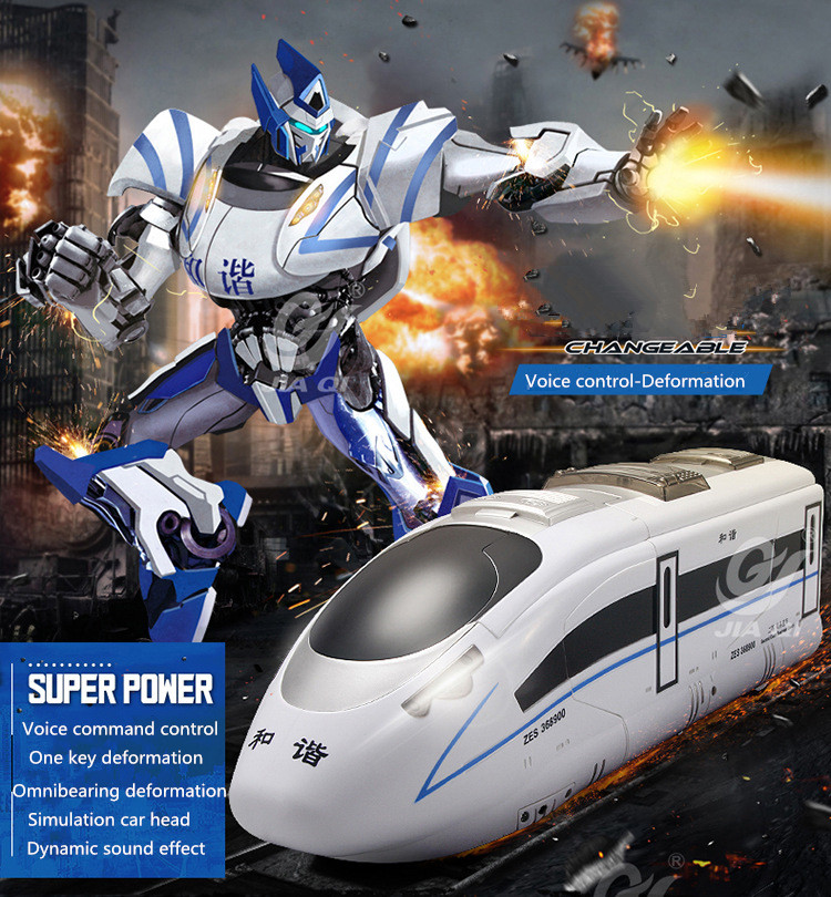 2017 high speed train TT673 2.4G voice remote control one key deformation RC robot and train with voice LED light kids RC toy model aircraft