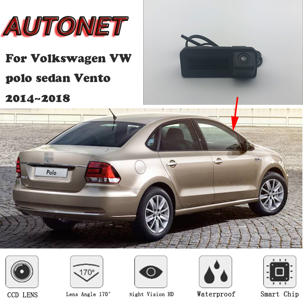 AUTONET Backup Rear View Camera For Volkswagen VW Polo Sedan Vento 2016 2017 2018 Trunk Handle Camera Parking HD Night Visioin