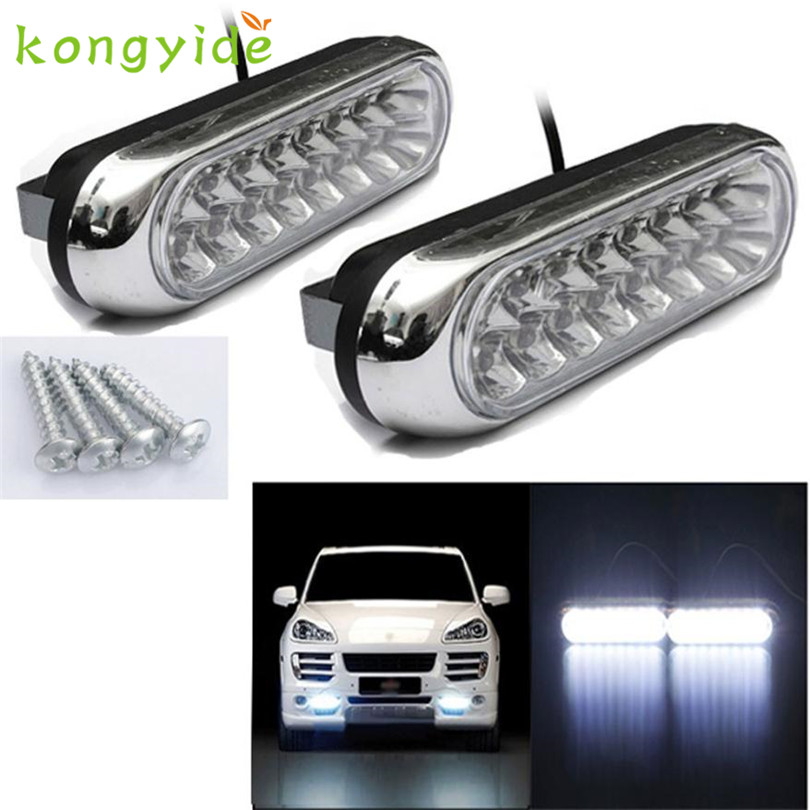 2017 NEW Car light 2x Universal 16 LED Car Van DRL Day Driving Daytime Running Fog White Light Lamp fashion hot oct9 daytime running light 100% waterproof led drl white and red color day light fog light turning signal flexible car running light