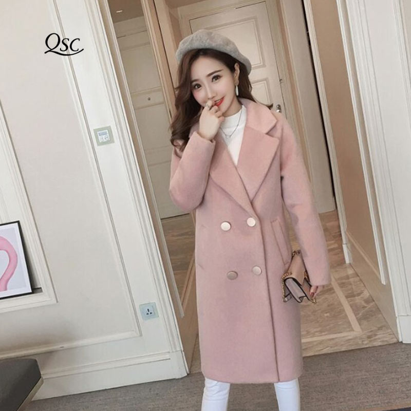 Spring Coat Women 2018 New Fashion Long Double Breasted Slim Women's Overcoat High Quality Long Pink Women Coats And Jackets
