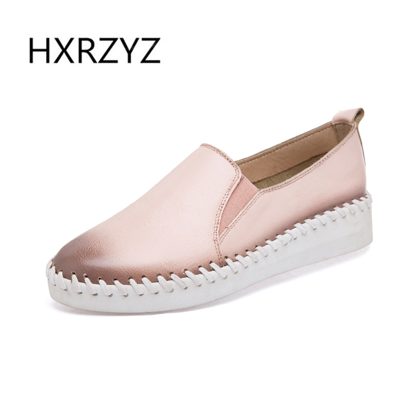 ФОТО HXRZYZ2017 spring leather hand a pedal lazy fun shoes genuine leather flats flat womens casual shoes genuine leather shoes women