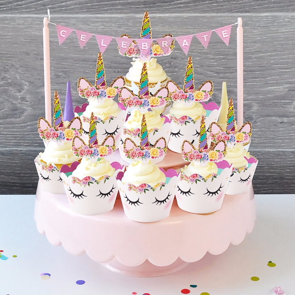 Aliexpress Buy Fengrise 24pcs Pink Unicorn Cake Toppers