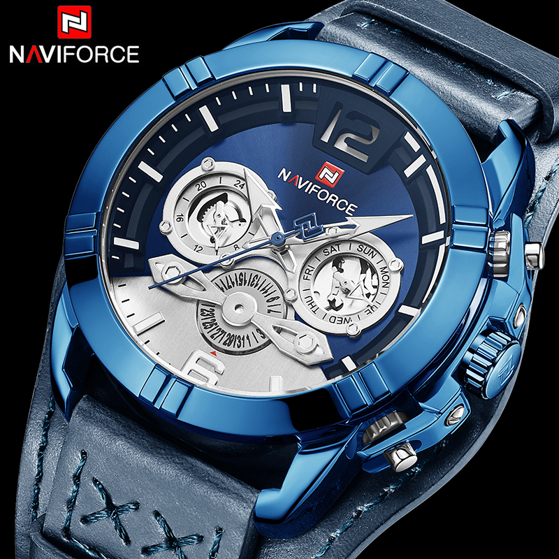 Naviforce Men Watch Leather Army Military Retro Steampunk Sports Male Quartz Watch Wristwatch With Date Hodinky Relojes Hombre