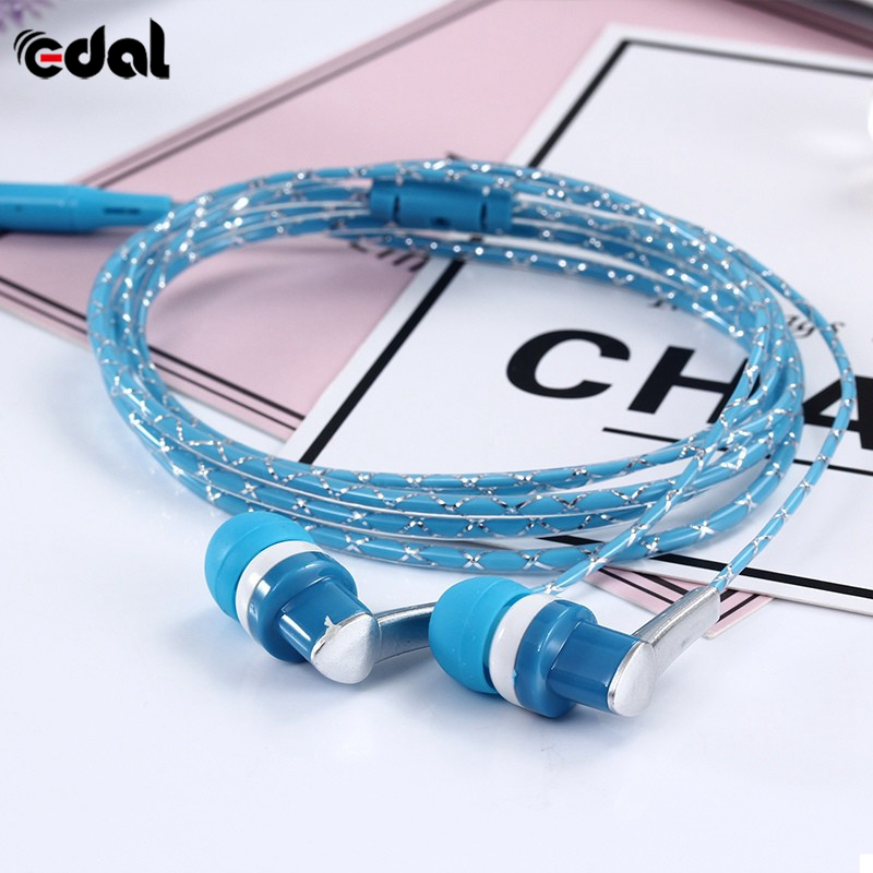EDAL 3.5mm Crystal serpentine headphones In-ear style subwoofer earphones music Universal headset For Smart Phone mp3/mp4