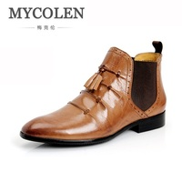 MYCOLEN Chelsea Boots Male Vintage Fashion Tassels Boots Pointed Toe Ankle Boots Leather Winter Dress Shoe
