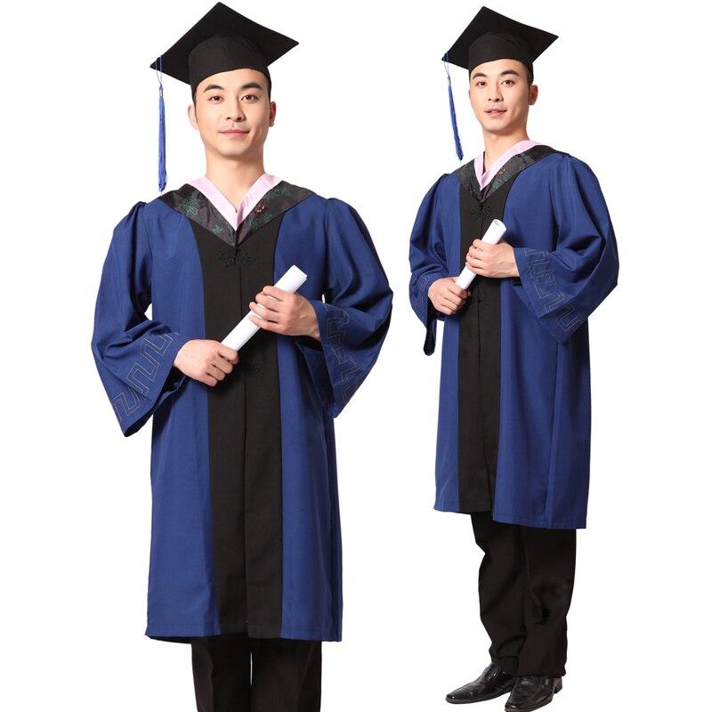 Baccalauréat bouchon doctorat robe pour les diplômés universitaires en gros Doctorat robe vêtements de cérémonie de remise des diplômes T