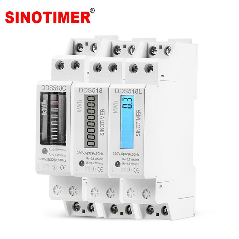 Monophasé deux fils LCD rétroéclairé wattmètre consommation d'énergie Watt compteur d'énergie kWh AC 5-32A 230V 50Hz électrique Din Rail Mount