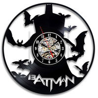 Batman Bad Blood Vinyl Record Clock Wall Art Home Decor Interior Design LED with 7colors