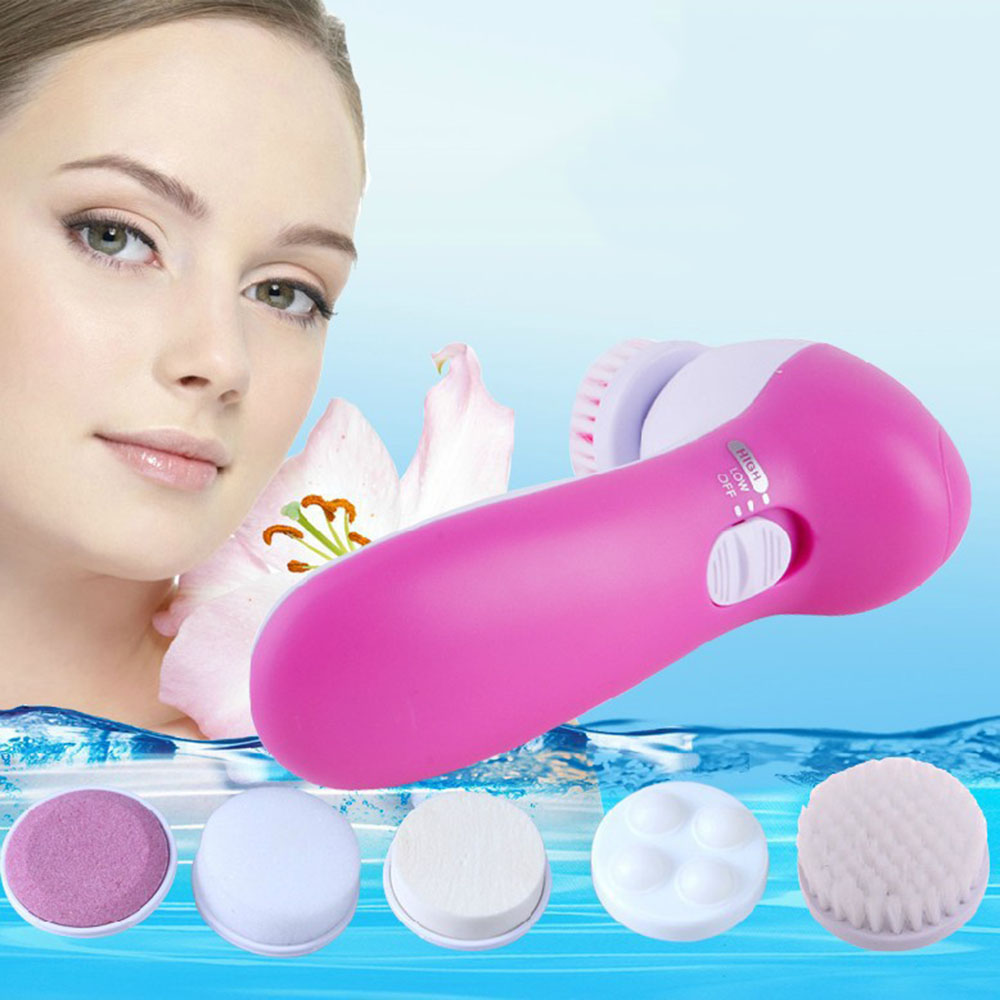 5 in 1 Electric Face Deep Clean Rotating Facial Cleansing Brush Smooth Massager Scrubber Cleaning Brush Skin Care Beauty Tools