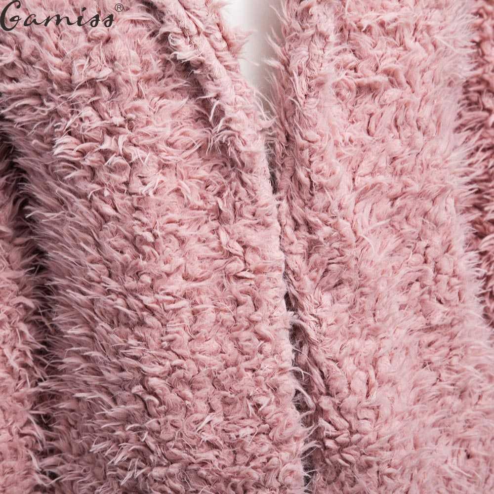 Wipalo/зимнее шерстяное пальто серого цвета; теплая верхняя одежда для женщин; розовое пальто из искусственного меха; кардиган с отложным воротником и длинными рукавами; женская верхняя одежда